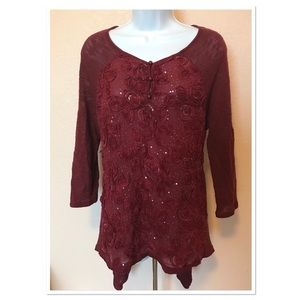 Etoile Maroon Sequin Embellished Floral Sweater S